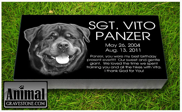 "24""x12""x4"" Black Granite Pet Memorial Layout 1"