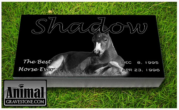 "24""x12""x4"" Black Granite Pet Memorial Layout 2"