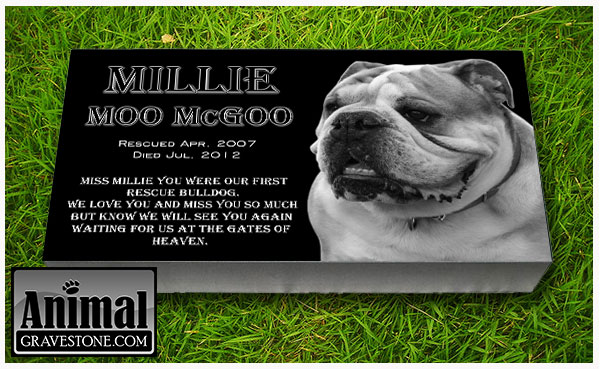 "24""x12""x4"" Black Granite Pet Memorial Layout 3"